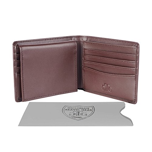 RFID Blocking Leather Wallet for Men - Bonus RFID Passport Sleeve - Bifold Wallet Designed in the USA using Genuine Leather and the Best RFID blocking material for your security - Gift Box incl.
