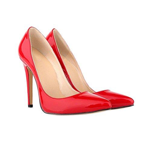 Zhuhaixmy Mode Frau Farbe der Süßigkeit Spitze 11CM High Heels Stilettos Schuhe Red