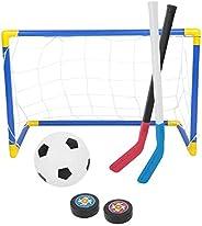 2 in 1 Kids Sports Toys Hockey Soccer Ball Set Goals Net, Mini Football, Ice Hockey, Ice Hockey Sticks with Ha