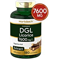 DGL Licorice Chewable Tablets | 7600 mg | 180 Count | Vegetarian, Non-GMO, Gluten Free | Deglycyrrhizinated Licorice Root Extract | by Horbaach