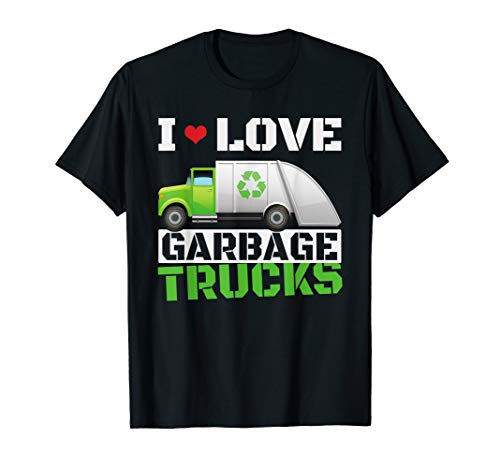 I Heart Love Garbage Trucks T-Shirt Toddler Boys Kids Tees (Dump Truck Remote Control)