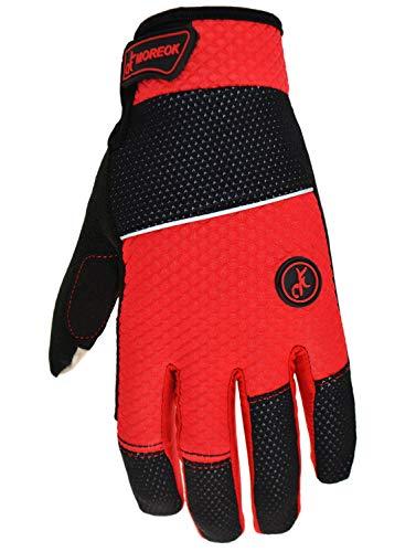 MOREOK Women Mens Bicycle Gloves Lightweight Durable Reflex Gel Cycling Gloves Red XL ()