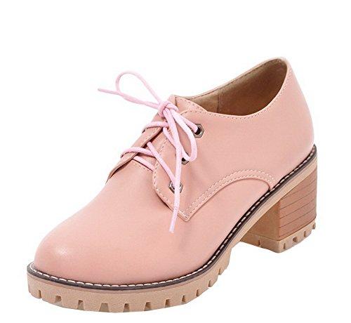 Femme L Couleur Unie Pu Agoolar Chaussures Lacet Cuir SBHqF6Fd