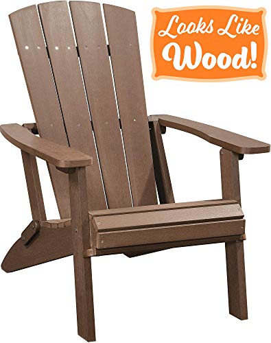 PolyTEAK Modern Oversized Folding Adirondack Chair, Walnut Brown