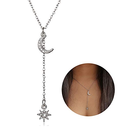 YOOE Fashion Bohemian Star Moon Y Pendant Necklace, Geometric Sun Crescent Rhinestone Multilayer Necklace Six Star Choker Women Jewelry (Silver)