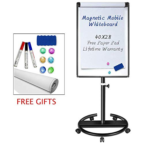 Magnetic Mobile Whiteboard – 40x28 inches Dry Erase Board Flipchart Easel Stand White Board