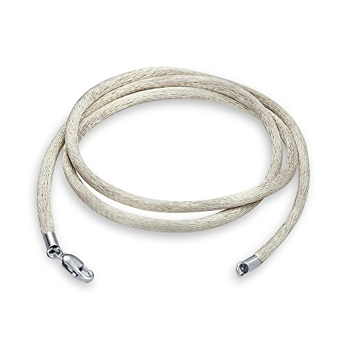 Cord Silver Plated Necklace - Bling Jewelry White Satin Silk Necklace Pendant Cord for Women for Men Teen Silver Plated Lobster Claw Clasp 18 Inch