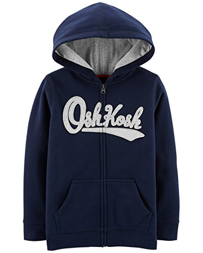 OshKosh B'Gosh Boys' Kids Full Zip Logo Hoodie, Dark Navy, 8