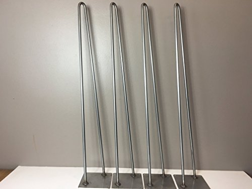 Hairpin Leg,Stainless Steel Table Legs Set of 4 Modern Industrial 2-Rod Hairpin Leg Base - USE INDOOR or OUTDOOR - 12 inch high,16 inch, to 40 inch high - SHIPS FREE WITHIN 48 Hrs