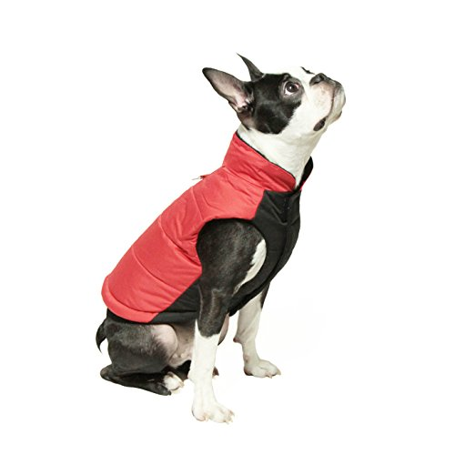 Gooby - Wind Parka, Fleece Lined Small Dog Jacket Coat Sweater with Water Resistant Shell and Leash Ring, Red, Large