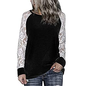 68363a434 Orangeskycn Fashion Womens Casual Lace Long Sleeve Pullover Crop O-Neck T- Shirt Blouse Tops …