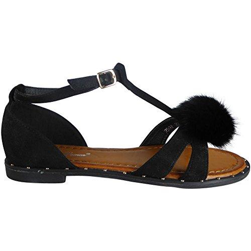 Ladies Buckle T-Bar Fur Pom Pom Studs Peeptoe Sandals Size 3-8 Black vQYI2FFr