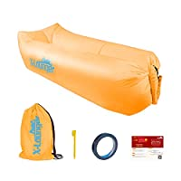 Inflatable Lounger with Air Valve and Mesh, 2017 New Hammock Inflatable Air Lounger Fast Inflate by Wind or Air Pump, Waterproof Air Bag Chair Sofa for Beach,Camp,Stay Inflated 5 to 8 Hours (Orange)