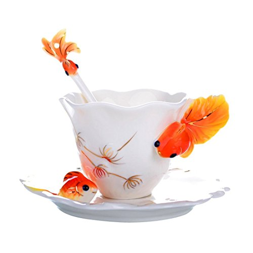 Creative Design Goldfish Ceramic Coffee Mugs /Romantic Creative Present/Rhinestone China Porcelain Tea Mug Coffee Cup and Saucer Set (Orange)