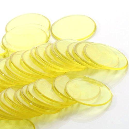 Fenteer 約100個 3cm プラスチック ビンゴチップ ゲーム ポーカーチップ おもちゃ ビンゴ用品 道具 全6色  - 黄