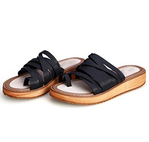 Donna Forti Spiaggia Roma Yiiquan Taglie Estate Toe Nero Sandali Infradito Elegante Clip Scarpe Pantofole 4dwRTq
