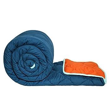 Divine Casa Polyester Comforter/Blanket/Quilt/Duvet Lightweight, All Weather Double Comforter, Insignia Blue and Vermillion Orange - Solid (200)