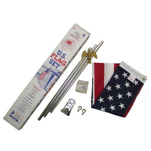 US 3x5 foot poly/cotton porch flag kit - standard grade hard