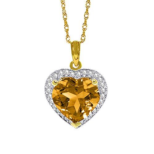 "14K 24"" Yellow Gold Genuine Diamond & Heart-shaped Citrine Pendant Necklace"