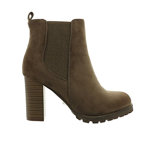 Damen Stiefeletten Ankle Boots Plateau Stiefel Schuhe 77 Khaki