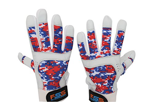 FullScope Sports Baseball Batting Gloves for Adult Boys Girls Youth Pro Softball Glove (Red/White/Blue Digital Camo) Youth Small (Ages 6-8 yrs old) by FullScope Sports