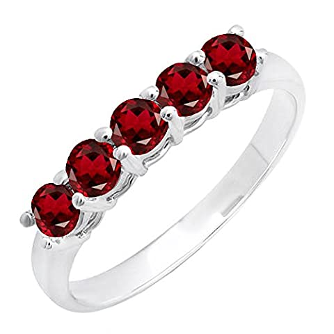 14K White Gold Round Garnet 5 Stone Ladies Anniversary Wedding Band Ring (Size 4.5) (Garnet Rings Clearance)