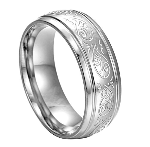 HERACULS 316L Stainless Steel Ring Band 7MM for Man Women Eternity Wedding Engagement Engraved Florentine Design Size 11