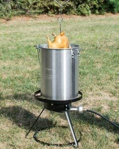 Aluminum Pot Hose Gas Single Burner Outdoor Frying Station Brands Republic Propane Turkey Fryer with Cooking Stand Probe Thermometer and Poultry Hanging Accessories