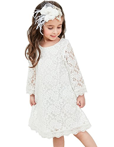 Price comparison product image Flower Girl Dress,  Lace Dress 3 / 4 Sleeve Dress (White,  0-3 Months)