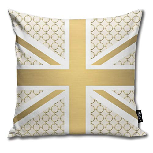 (UK Union Jack Flag with Gold Equestrian Pattern Funny Square Pillow Cases Cushion Cover for Bedroom Living Room Decorative 18