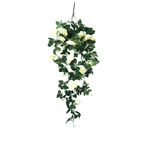 Home Decoration Simulation Fake Flower Rose Vine Wall Hanging Artificial Flower Crepe Orchid Hanging Basket Flower for Living Room Balcony Window (White, 31x16 Inch)