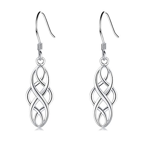 EVERU Celtic Knot Earrings Sterling Silver Irish Dangle Drop Earring Jewelry for Women (Platinum Plated)