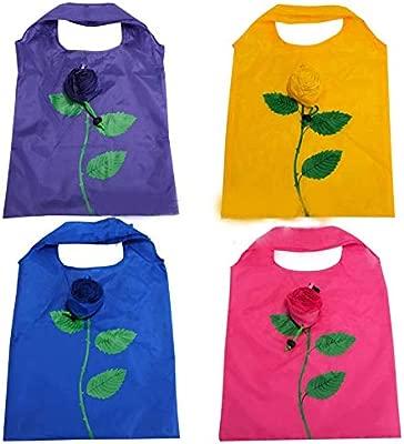 2 piezas al azar colores diseño de flor rosa plegable ECO bolsa bolsas de la compra reutilizable