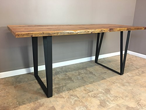 Salvaged Urban Wood Dining Table - Custom Fabricated Black Steel Leg Base - FAST FREE SHIPPING