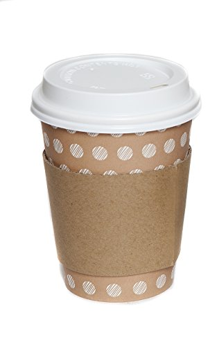 The #1 Most Stylish Disposable Paper Coffee Cups by Little Beans - Quantity 50 Count - Now WITH 50 Cardboard Sleeves - 12 oz Hot Cup To Go - Best Quality Guaranteed - for Coffee and Hot Drinks Only