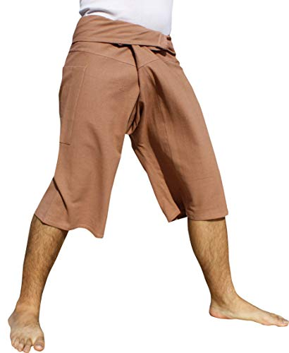 RaanPahMuang Brand Plain Muang Cotton Thai Fisherman Capri Wrap Pants, Small, Copper Rose - Wrap Cotton Thai