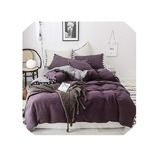Pink Green Purple 100% Cotton Tassel King Size Queen Bedding Set Bed Sheet Or Fitted Sheet Set Duvet Cover Bed Set,Bedding Set 2,King Size 7Pcs,Bed Sheet Style ()