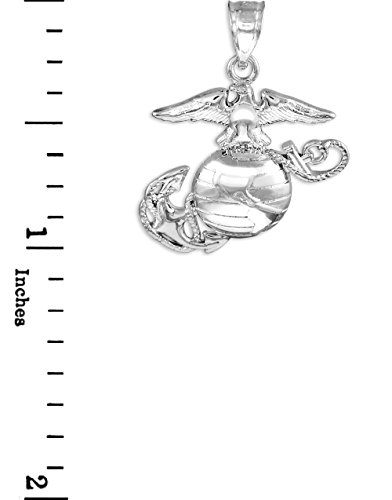 "10 ct 471/1000 Or Blanc ""US Marine Corps"" Medium Pendentif"