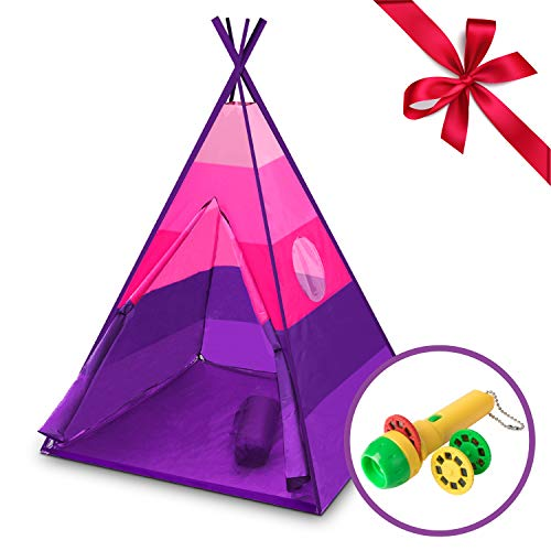 (Teepee Tent for Kids - Happy Hut Kids Play Tent for Boys or Girls, Indoor Outdoor Portable Childrens Play Tent w/ Safari Projector and Tote (Pink))