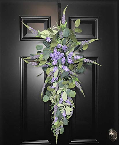 Lavender Eucalyptus Lambs Ear Floral Teardrop Swag Wreath for Spring Summer Front Door Interior Wall Farmhouse Decor Spring Springtime Summer Summertime Mother's Day Easter Handmade, Green/Purple, 36