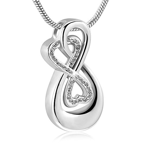 Infinity Love Urn Pendant Stainless Steel Snake Chain Cremation Jewellery for Ashes for Woman Free Filling Tools Include (Silver Color, White) ()