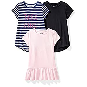 Amazon Brand – Spotted Zebra Girls' Toddler & Kids 3-Pack Short-Sleeve Tunic Tops