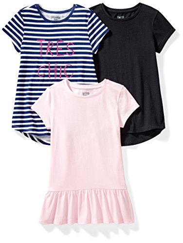 Spotted Zebra Big Girls' 3-Pack Short-Sleeve Tunic Tops, Tres Chic, Medium (8)