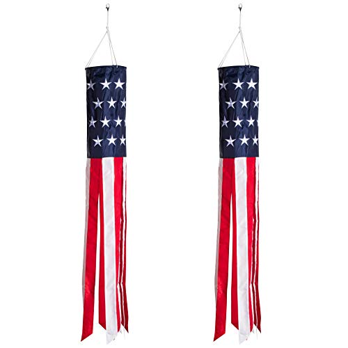 Homarden 40 Inch American Flag Windsock (Set of 2) - Outdoor Hanging 4th of July Decor - Premium Materials with Embroidered Stars - Fade Resistant Wind Socks for All Weather (Day Outdoor)