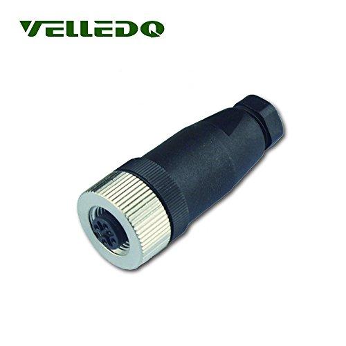 (VELLEDQ Industrial Field-wireable M12 Sensor Connector 4-Pin Female Adaptor Screw Terminal Plug Fittings )