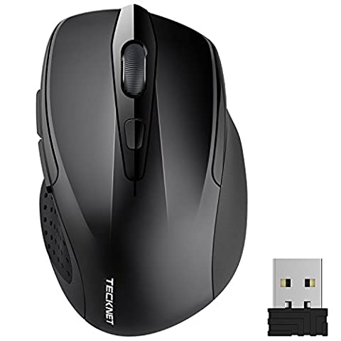TeckNet Pro 2.4G Ergonomic Wireless Mobile Optical Mouse with USB Nano Receiver for Laptop,PC,Computer,Chromebook,Macbook,Notebook,6 Buttons,24 Months Battery Life,5 DPI Adjustment - Cordless Desktop Optical