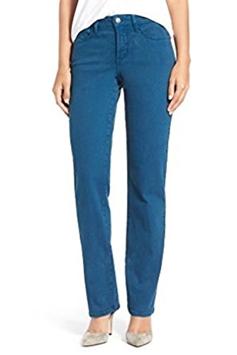 Sueded Twill Pants (NYDJ Marilyn Straight Leg Sueded Stretch Seaport Blue Twill Pants Jeans Size 6P Not Your Daughters Jeans Womens)