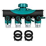 AOTOSOLO Garden Hose to Shut Off Valve Connect Outside Spigot Friendly Faucet Extension, 3 Rubber Washers Set, 3 Years of Full Guarantee - Ergonomic Aesthetic and Highly Durable (4 Way Garden Hose)