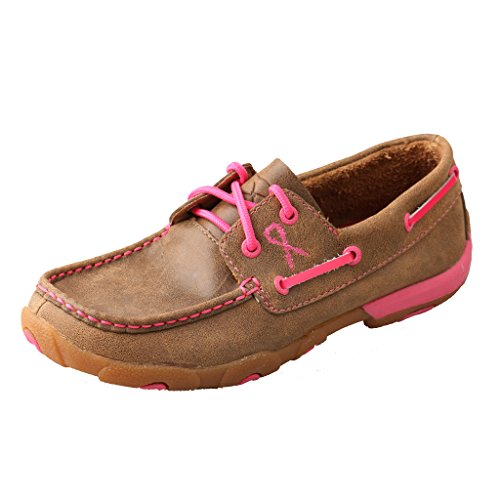 Twisted X Women's Leather Lace-Up Rubber Sole Driving Moccasins - Bomber/Pink