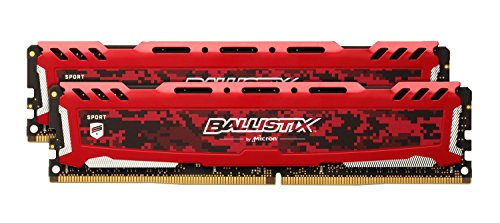 Ballistix Sport LT 16GB Kit (8GBx2) DDR4 2666 MT/s (PC4-21300) CL16 SR x8 DIMM 288-Pin - BLS2K8G4D26BFSEK (Red) ()